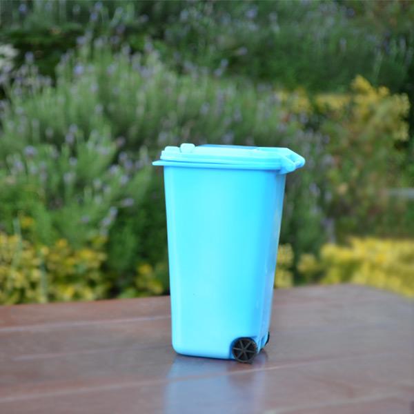 Mini Masaüstü Mavi Çöp Kutusu