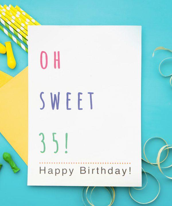 Oh Sweet 35 Tebrik Kartı