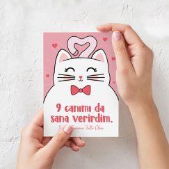 Kedi Temalı Sevgililer Günü Kartı