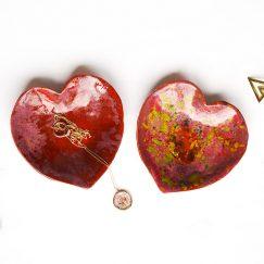 Desenli Kalp Tasarımlı Seramik Tabak (2 Adet)