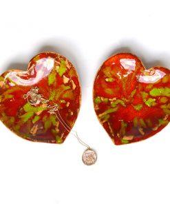 Kırmızı-Yeşil Desenli Kalp Tasarımlı Seramik Tabak (2 Adet)