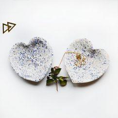 Mavi Benekli Kalp Tasarımlı Seramik Tabak (2 Adet)