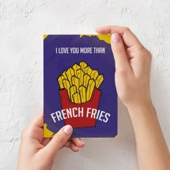 """I Love You More Than French Fries"" Tasarımlı Kartpostal"