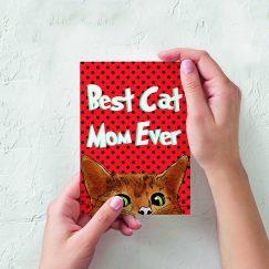 """Yüklendiği yer""""Best Cat Mom Ever"""" Tasarımlı Kartpostal"""