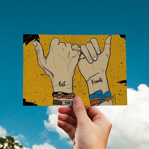 Best Friends Temalı Kartpostal