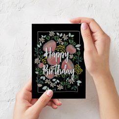 Çiçek Tasarımlı Doğum Günü Kartı