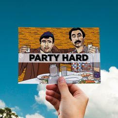 """""""Party Hard"""" Tasarımlı Kartpostal"""