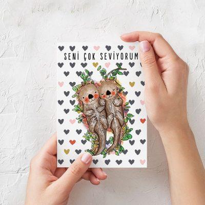 """""""Seni Çok Seviyorum"""" Tasarımlı Kartpostal"""