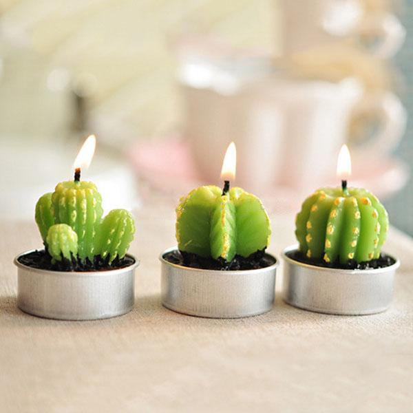 sevimli kaktus tealight mumlar el